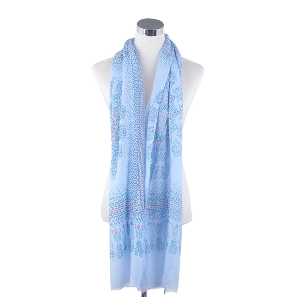Filigree Lotus Print Scarf Sky Blue