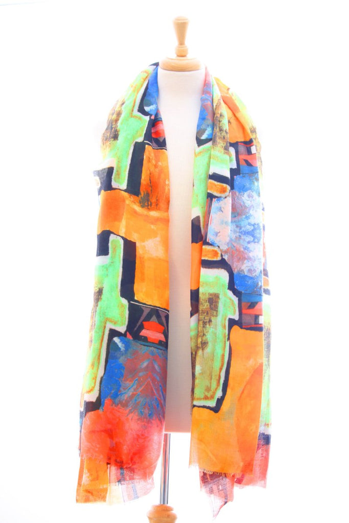 Digital print frayed edge orange and green scarf