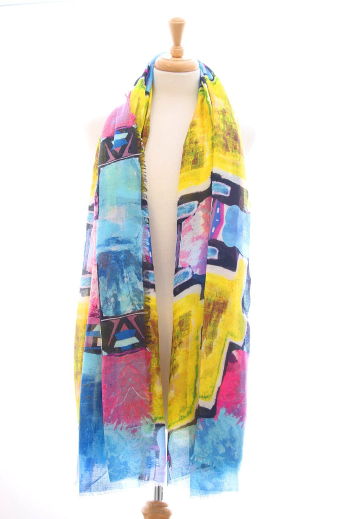 Digital print frayed edge blue and yellow scarf