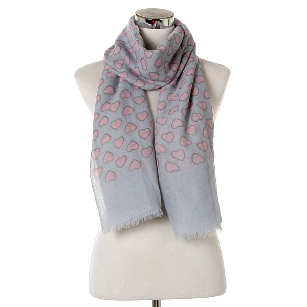 Full of Love Heart Print Frayed Scarf