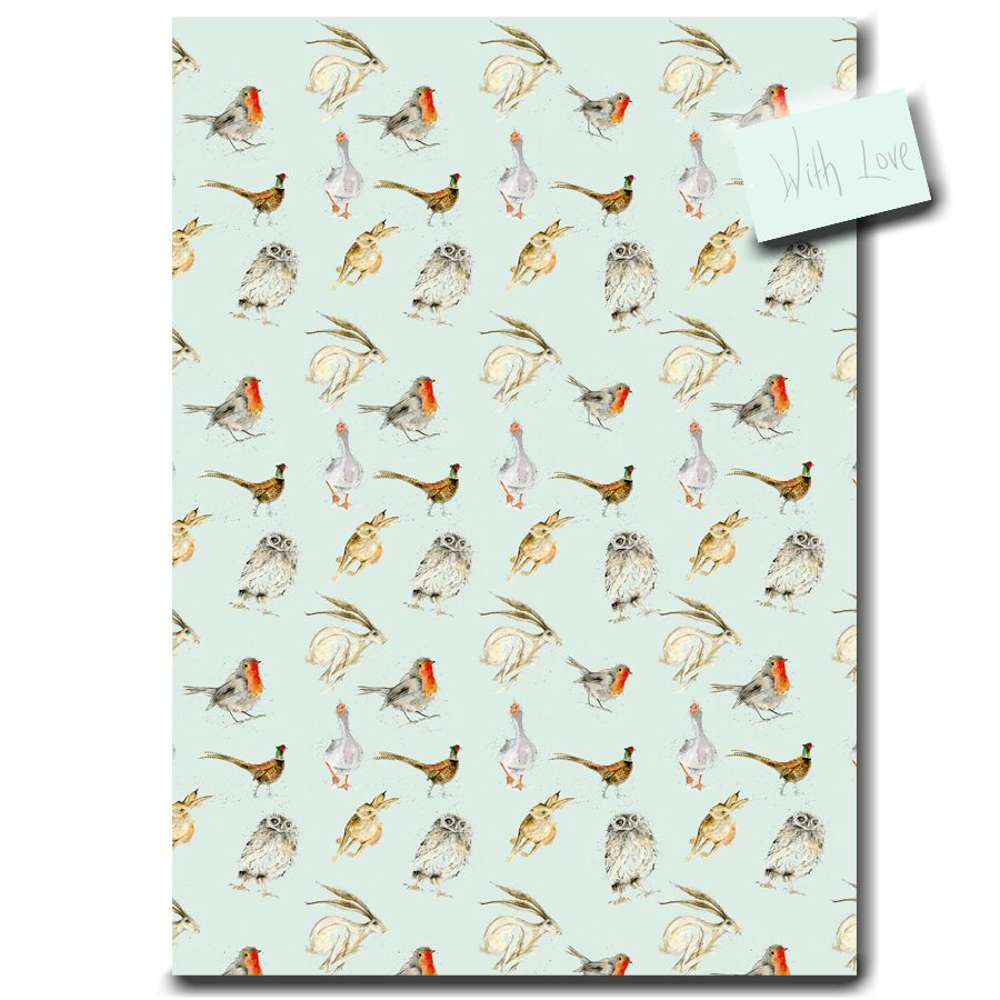 Fur & Feather Wrapping Paper designed by Sarah Boddy