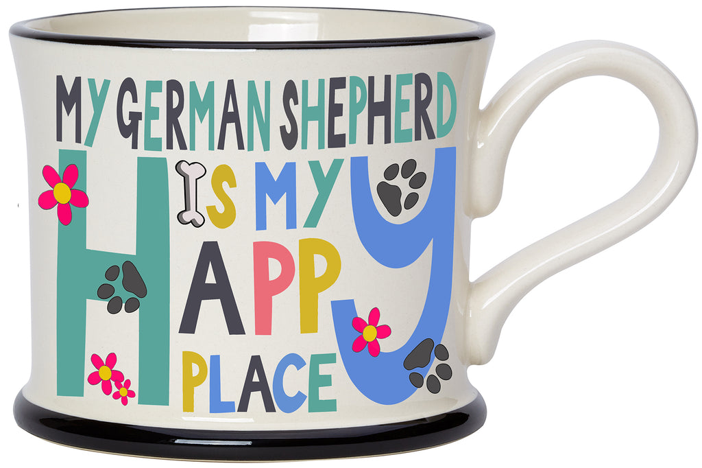 My German Shepherd is my Happy Place Earthen Ware mug by Moorland Pottery.