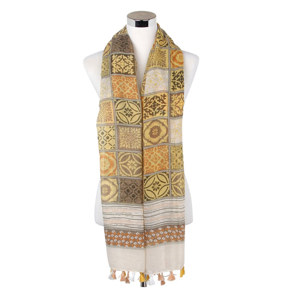 Greek Tile Effect Print Tassel Scarf