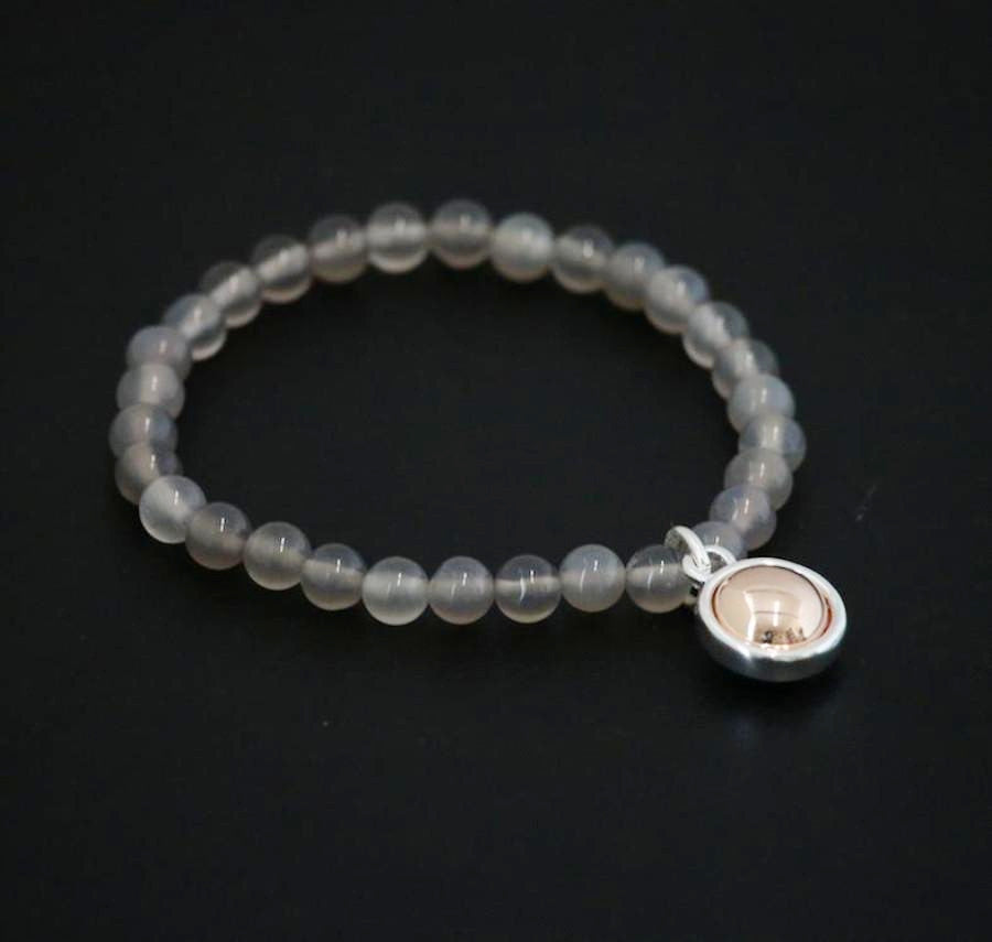 Grey Agate Stone Charm Beaded Bracelet designed and made by Sarah Tempest.