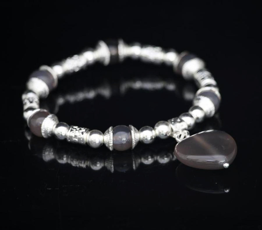 Grey agate heart and bead bracelet by Sarah Tempest