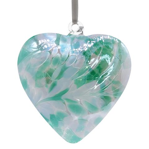 Friendship handcrafted glass pale green hanging friendship heart by Sienna Glass