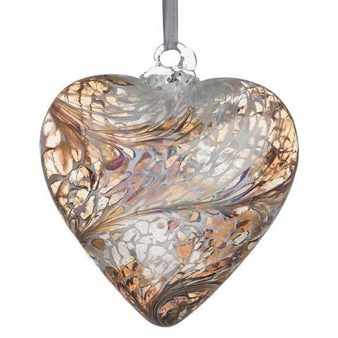 Friendship hand crafted glass pastel gold glass hanging heart by Sienna glass