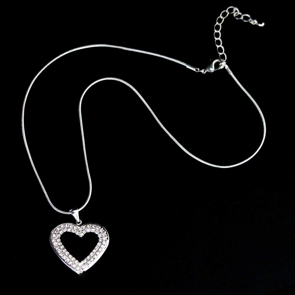 Crystal short open Heart necklace