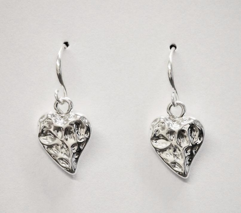 Heart pendant silver fish hook earrings designed and made by Sarah Tempest.