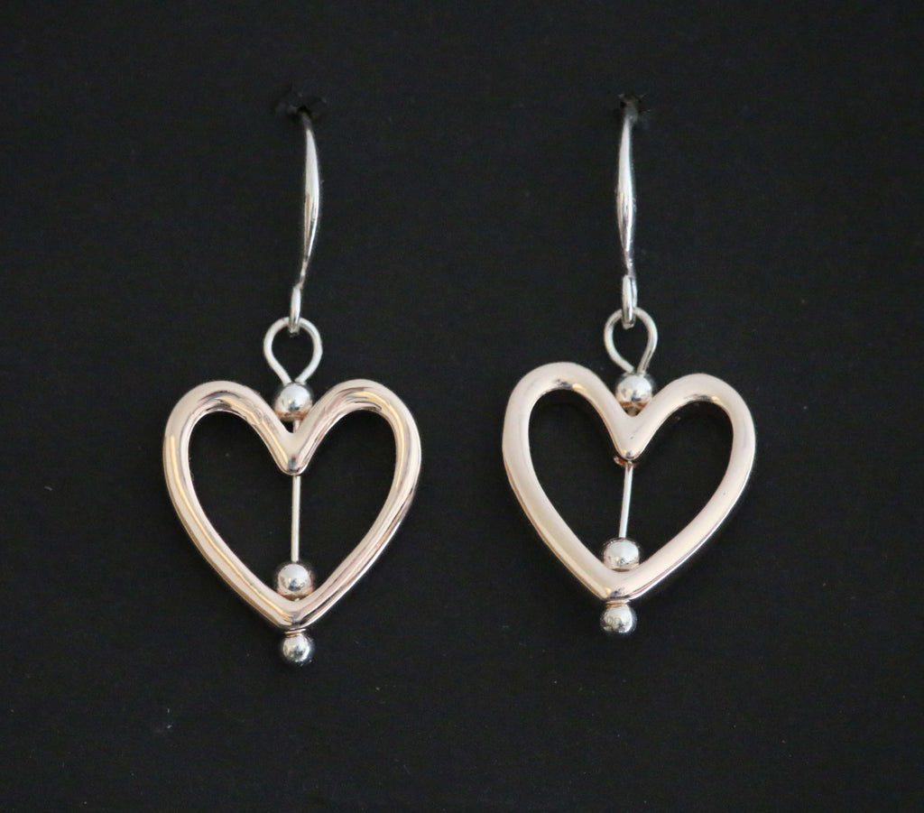 Open heart shaped rose gold and silver earrings