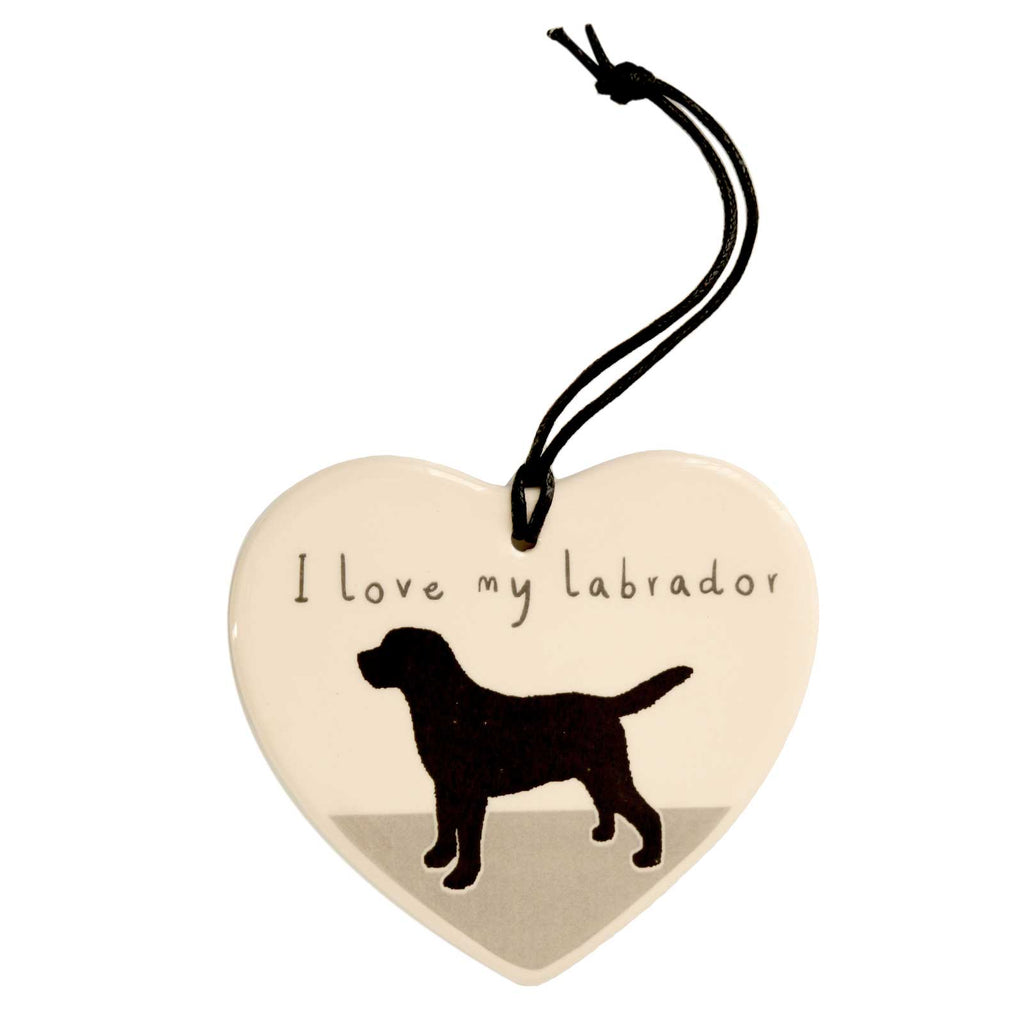 I Love My Labrador Hanging Heart Decoration