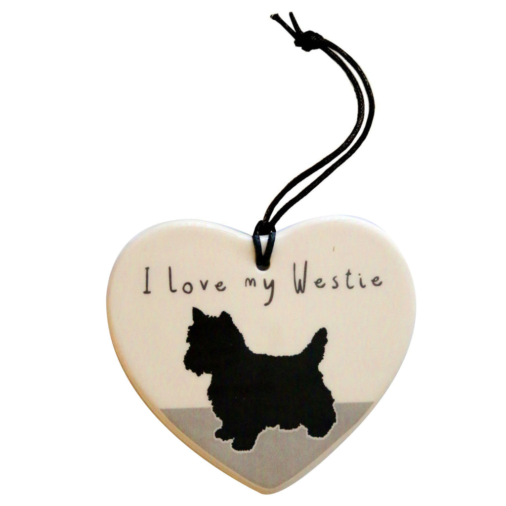 I Love My Westie Hanging Heart Decoration by Moorland pottery