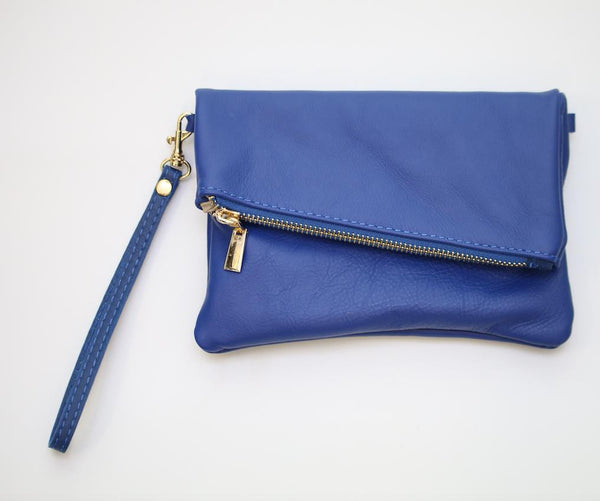 Italian leather small Royal Blue clutch bag with additional shoulder strap.