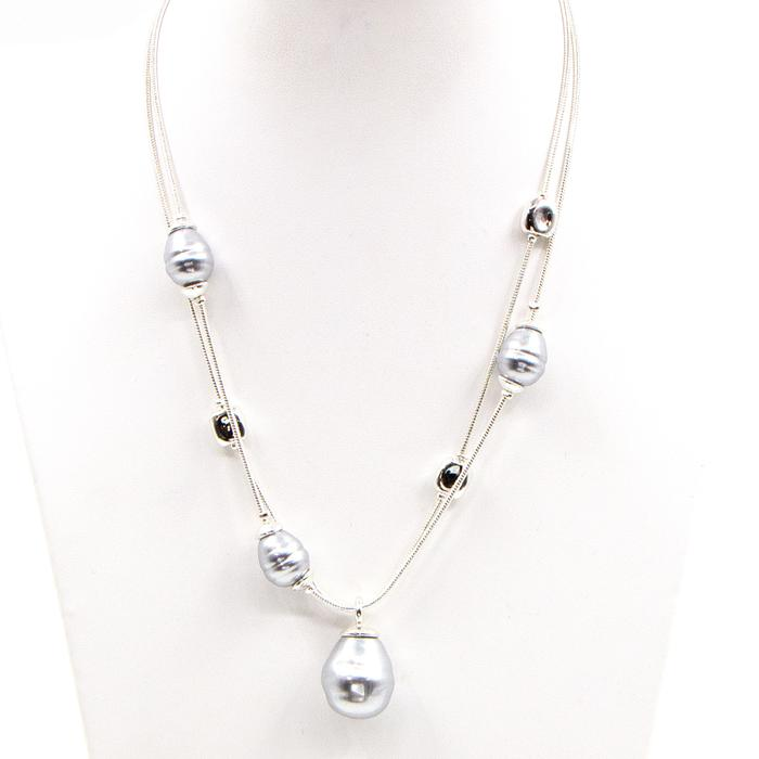 Faux pearl double pendant silver grey necklace by Sarah Tempest