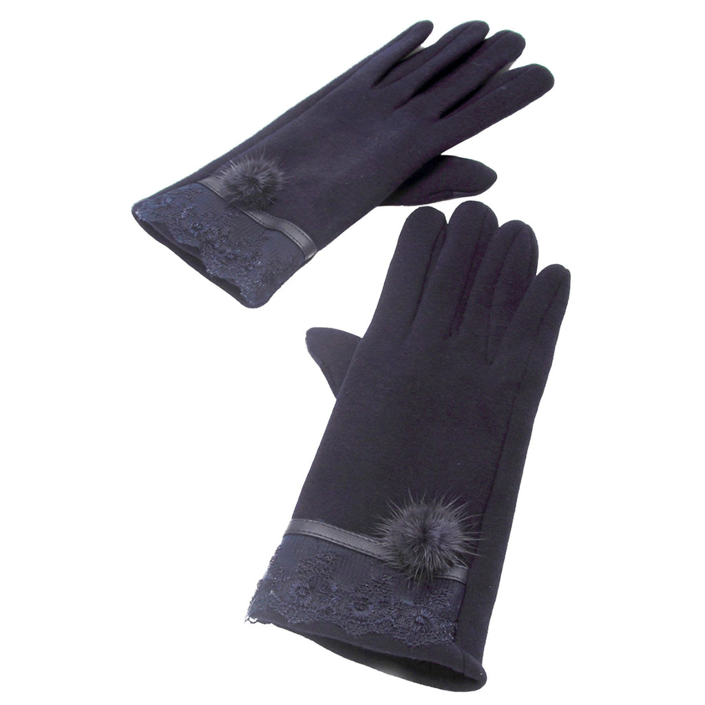 Lace Pom Pom Touch Screen Gloves Navy