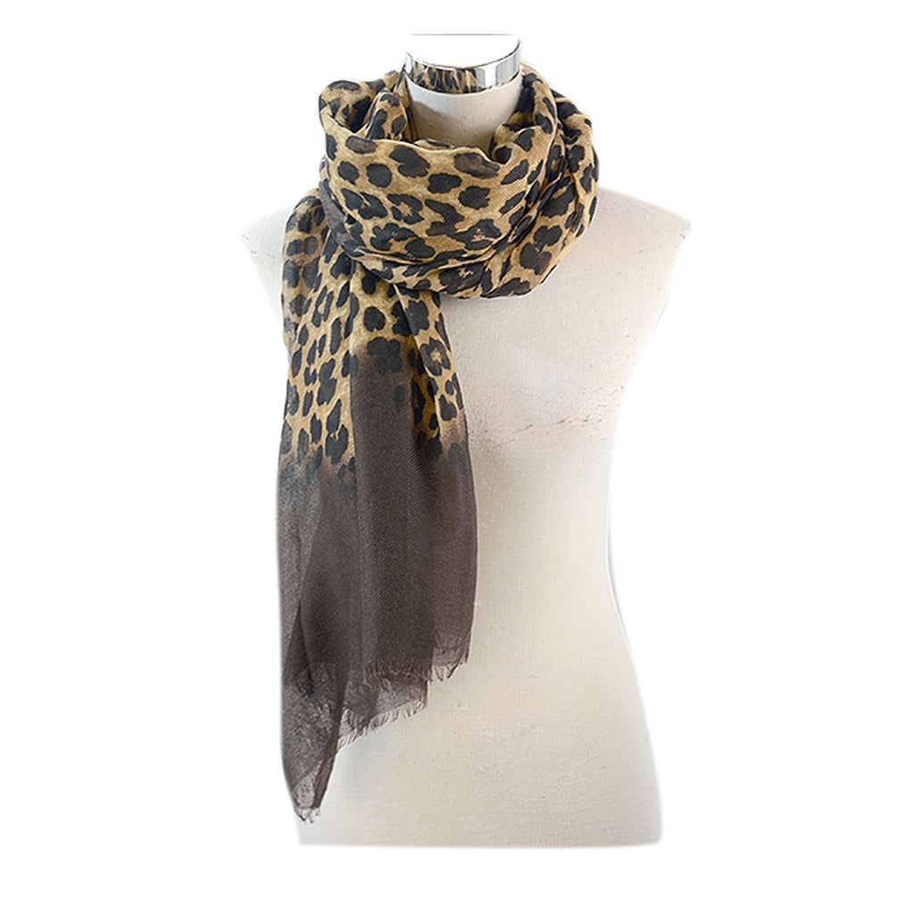 Leopard Print Scarf With a Plain Colour bottom Either Ends