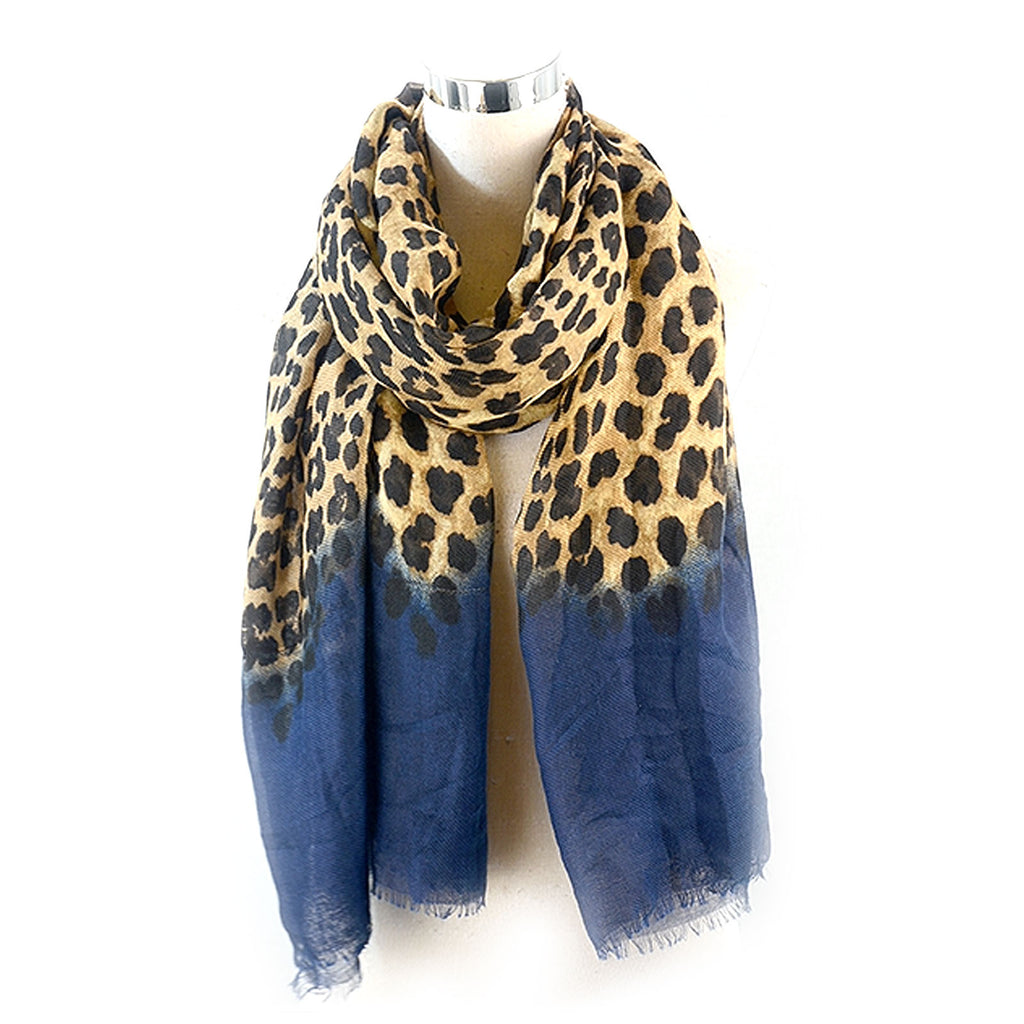Leopard With a Plain Colour bottom Either Ends Navy