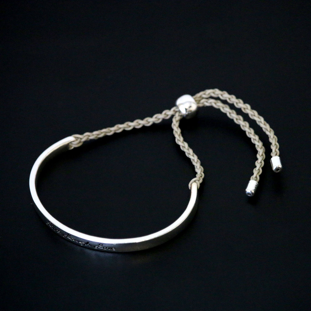 Live, Laugh Love Silver Bangle Cord Bracelet