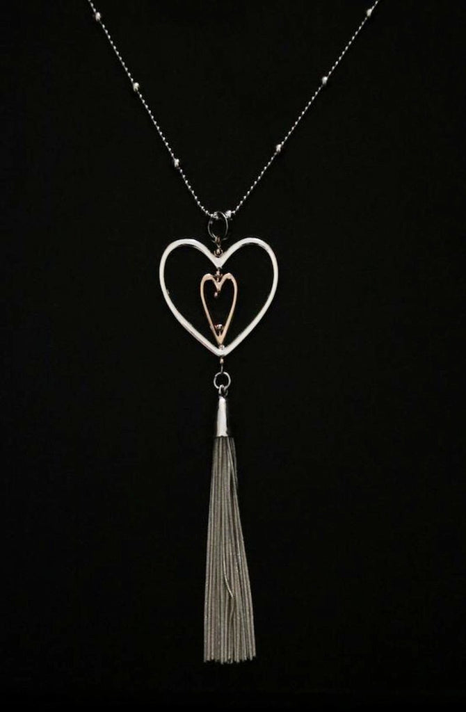 Long Necklace with Double Heart Pendant in silver and rose gold with Tassel Feature by Sarah Tempest