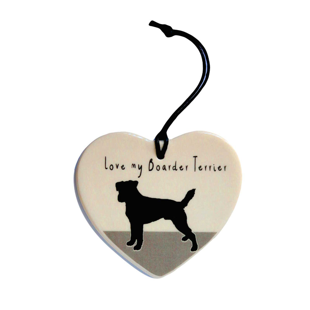 Love My Boarder Terrier Hanging Heart Decoration by Moorland Pottery
