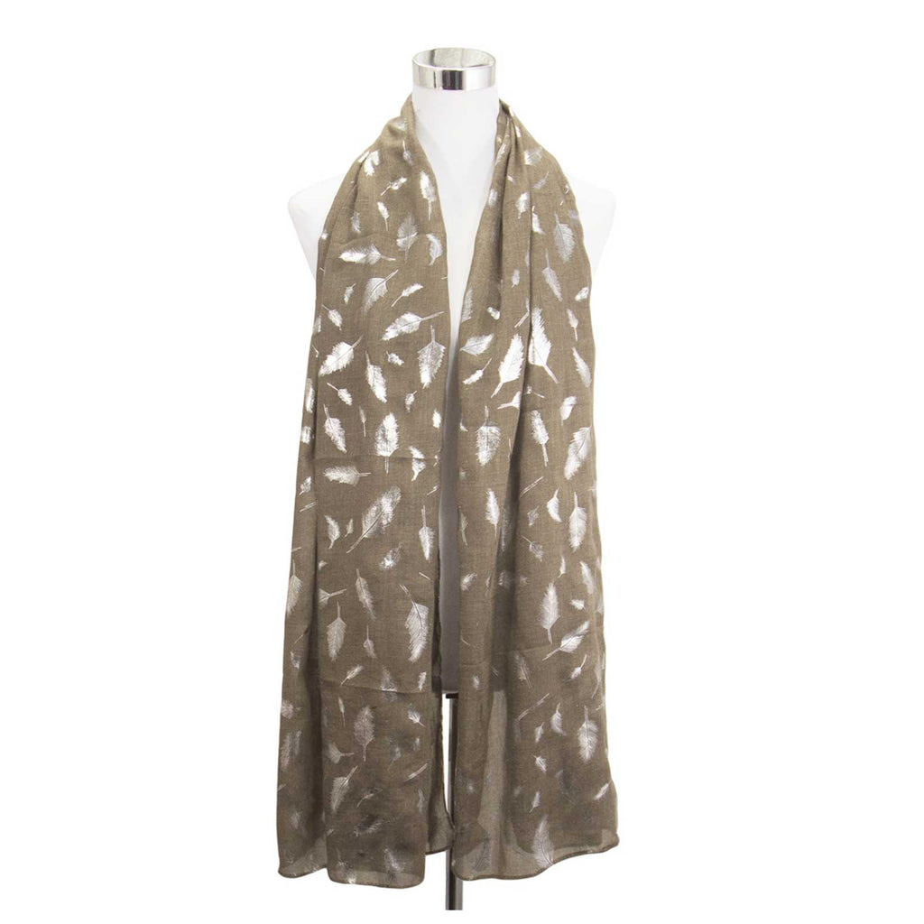 Metallic Feather Print Scarf Brown