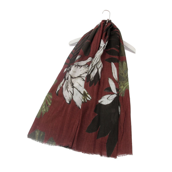 Monstera Plant Flower Floral Print Frayed Scarf Wine