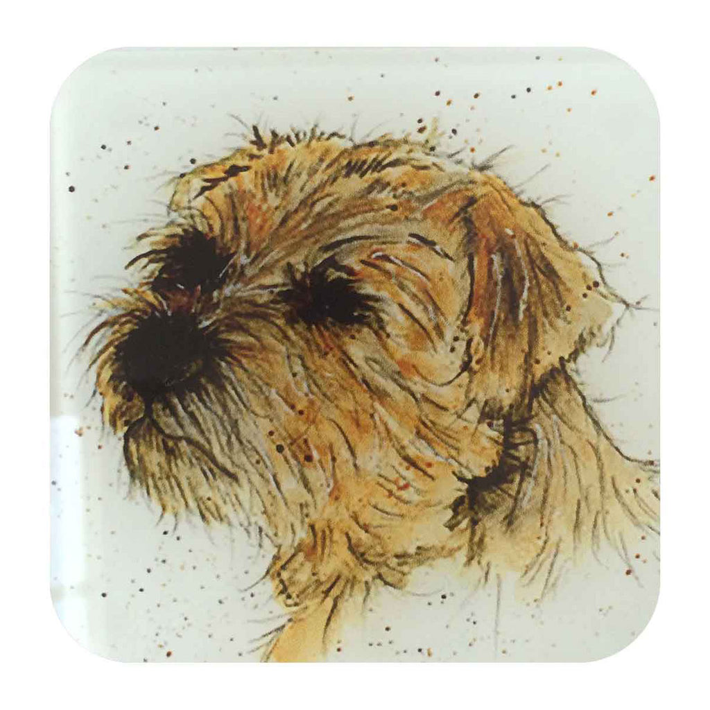 Monty the Border Terrier Glass Coaster by Sarah Boddy