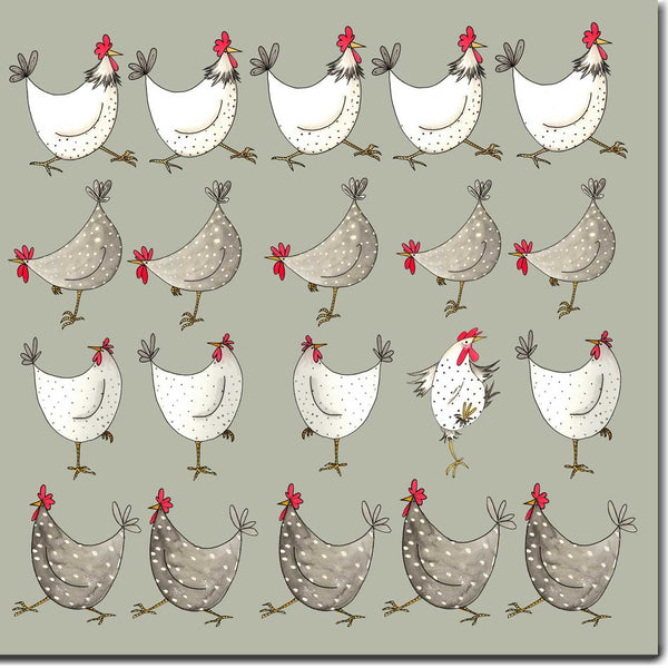 Multi Chickens-Greeting Card (Sage Green) designed by Sarah Boddy