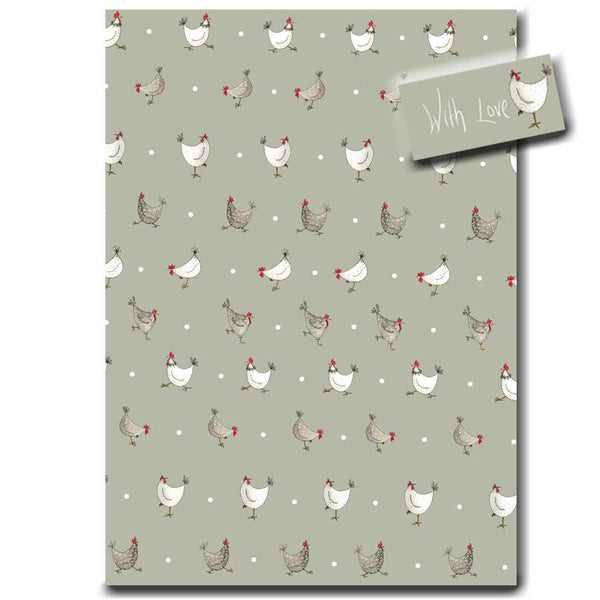 Multi Chicken & Spot Wrapping Paper designed by Sarah Boddy