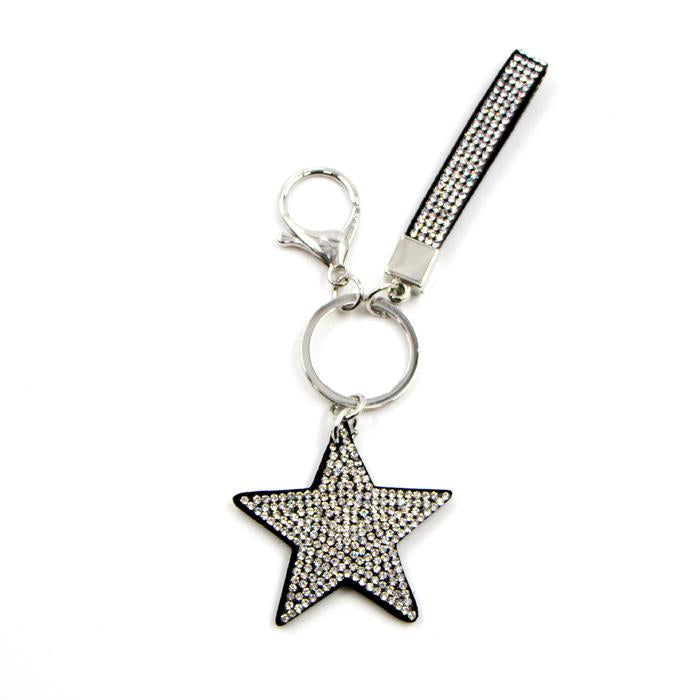 Multi colour crystal encrusted Star and Strap keyring by Sarah Tempest