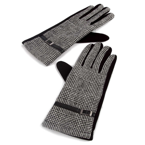 Nailshead Tartan Side Buckled Lady Gloves Black & White