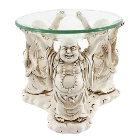 Ceramic Laughing Buddha wax/oil burner  with glass dish