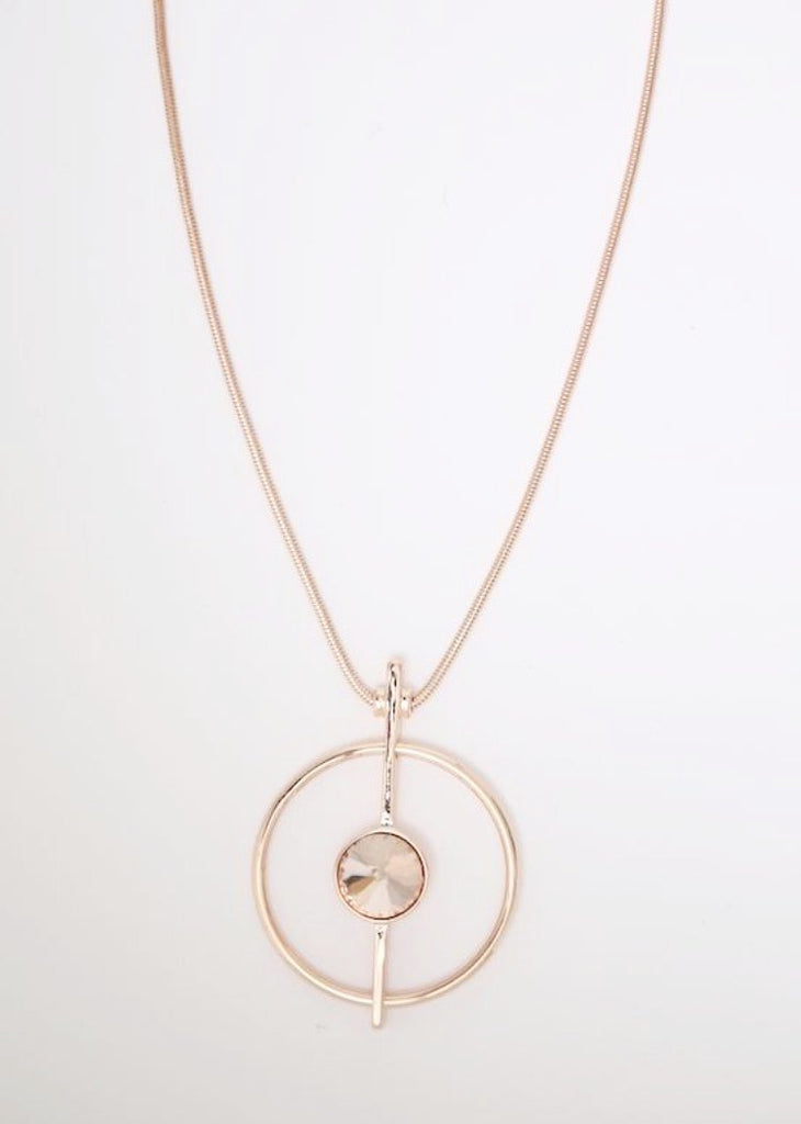 Open Rose Gold Circle Pendant with Crystal Centre on a Long Snake Chain Necklace by Sarah Tempest.