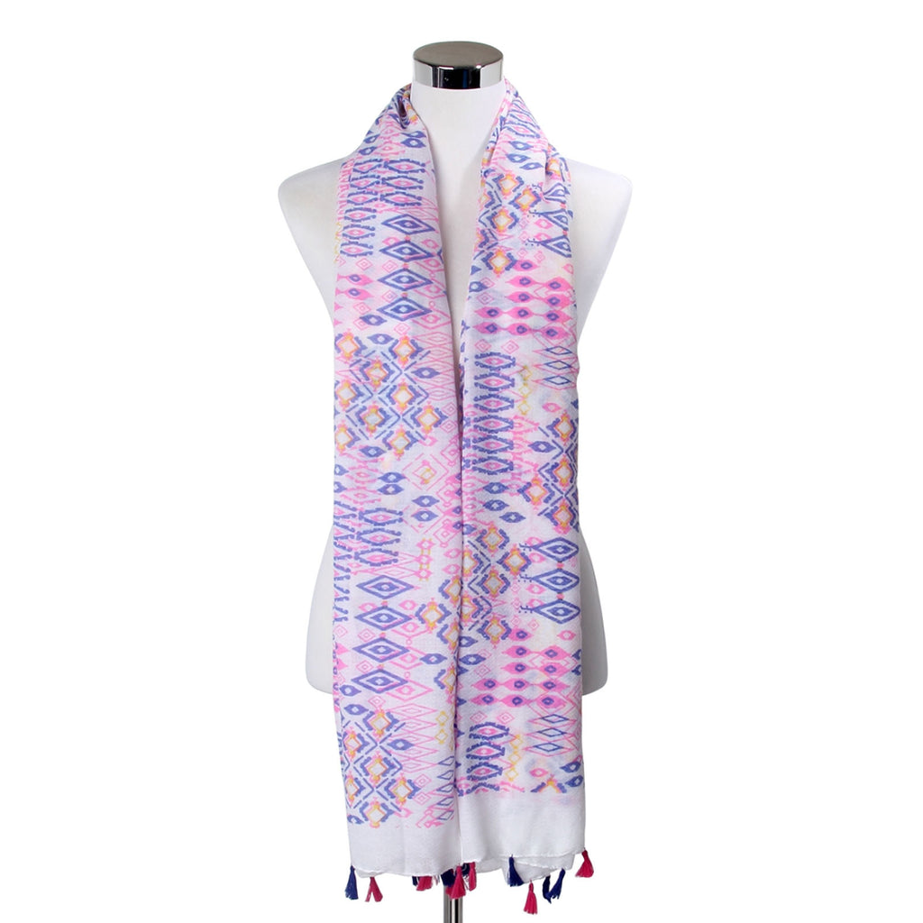 Pastel Aztec Tribal Print Tassel Scarf Pink and Navy