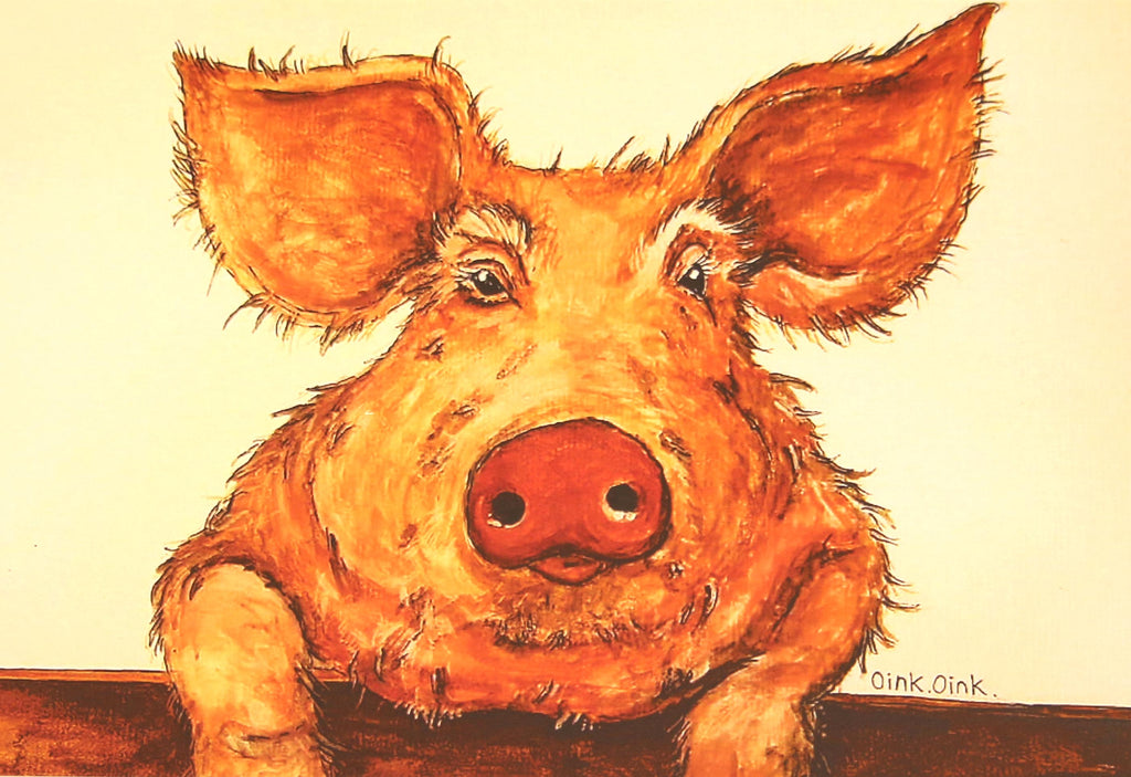 Pig greeting card by Clare Tyas