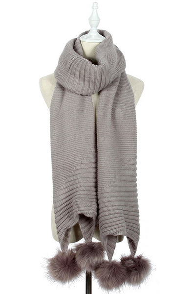 Plain Knitted Double Pom Pom Scarf in Light Grey