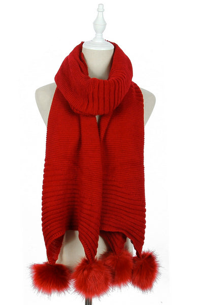 Plain Knitted Double Pom Pom Scarf in Red
