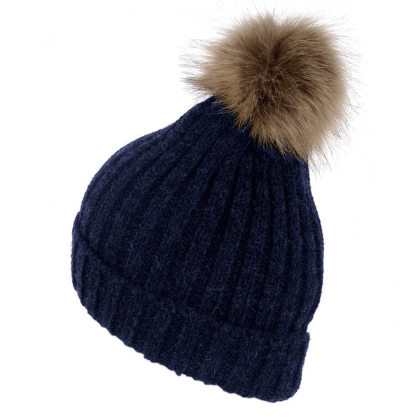 Faux Fur Plain Pom Pom Knitted Beanie Hat Navy