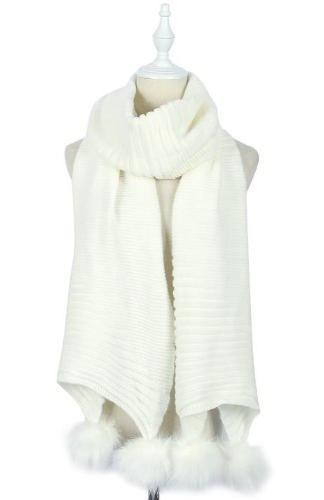 Plain Knitted Double Pom Pom White Acrylic Scarf