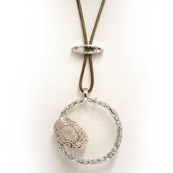 Circular pendant with rhinestone long  necklace