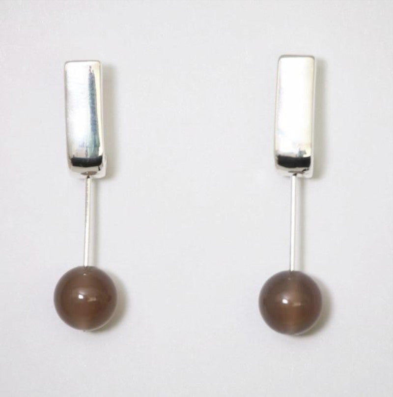 Rectangular stud earrings with grey agate stone by Sarah Tempest