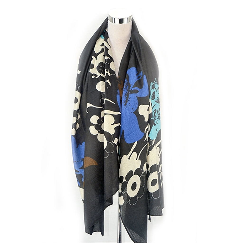 Retro Floral Print Frayed Scarf Black