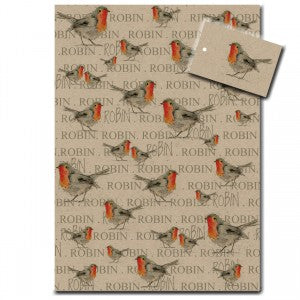 Robin Wrapping Paper – Brown designed by Sarah Boddy