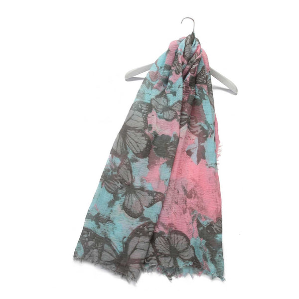 Rocky Mountain Butterfly Print Frayed Scarf Pink