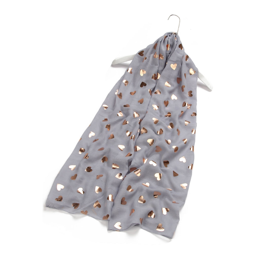 Rose Gold Love Heart Print Scarf Light Grey