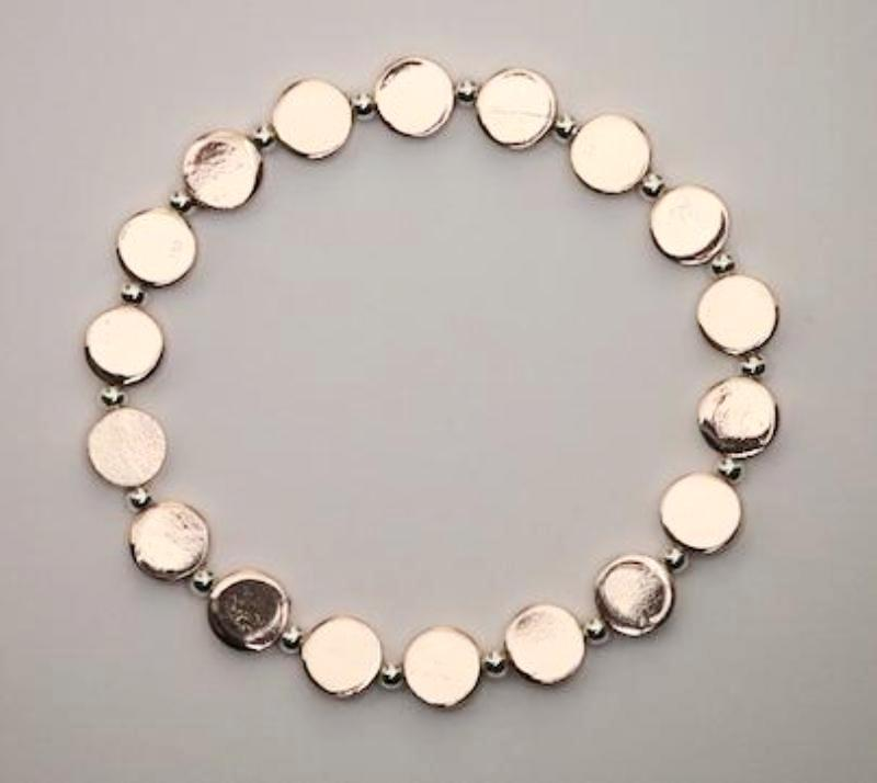 Rose Gold Disc and Silver Bead Bracelet