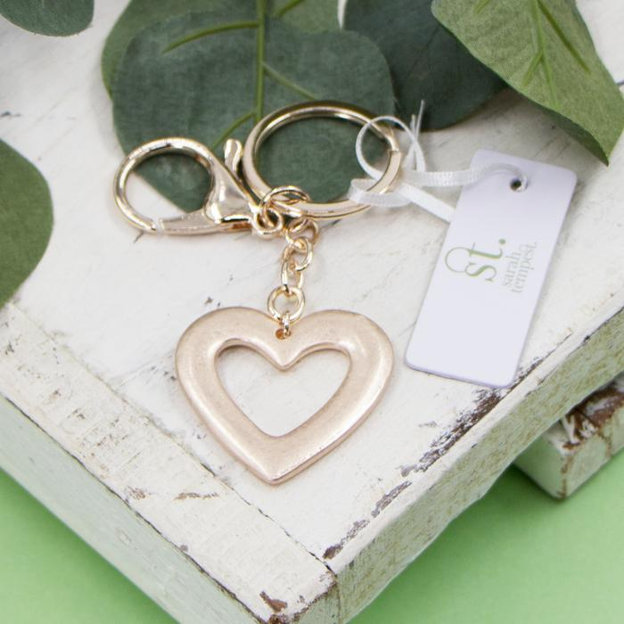 Rose gold open heart shaped key ring by Sarah Tempest