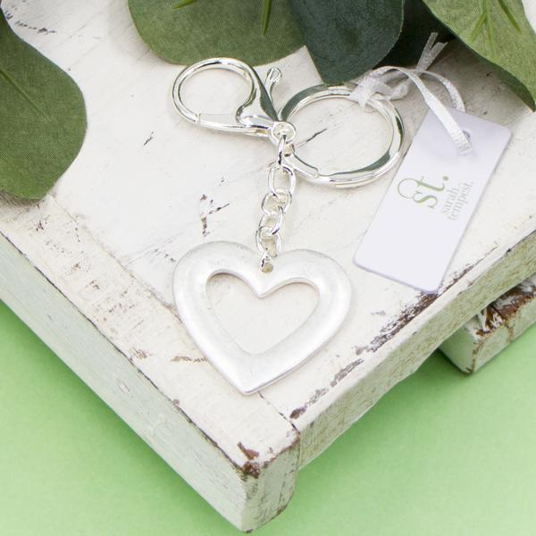 Silver open heart silver coloured key ring by Sarah Tempest