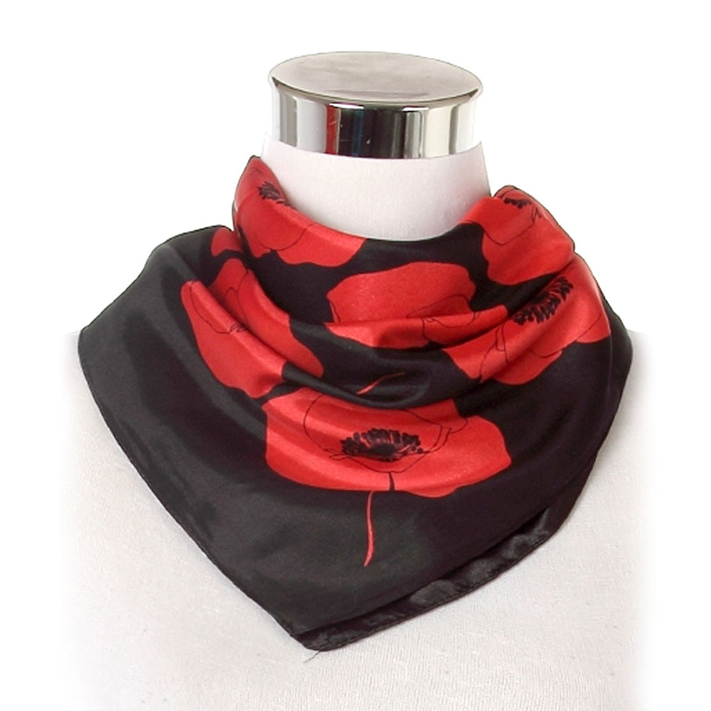 Satin Poppy Print Square Scarf