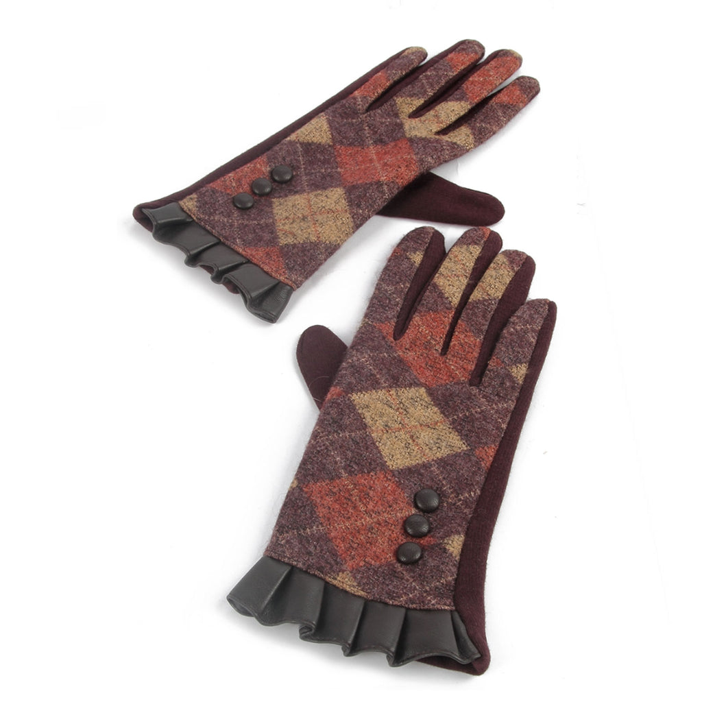Scottish Argyle Reuffle Edge Gloves Brown